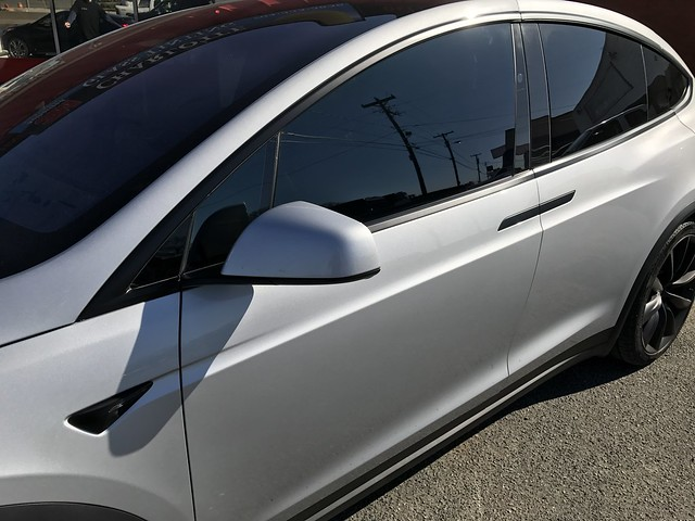 2017 Tesla Model X P100D with 3M 1080 Satin Black wrap and 3M Crystalline