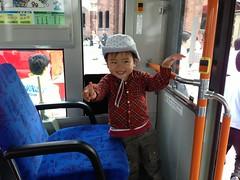 おっきいバスの一番前の席