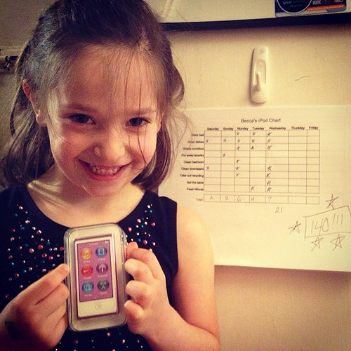 After six weeks of chore charts, someone earned her new iPod tonight.