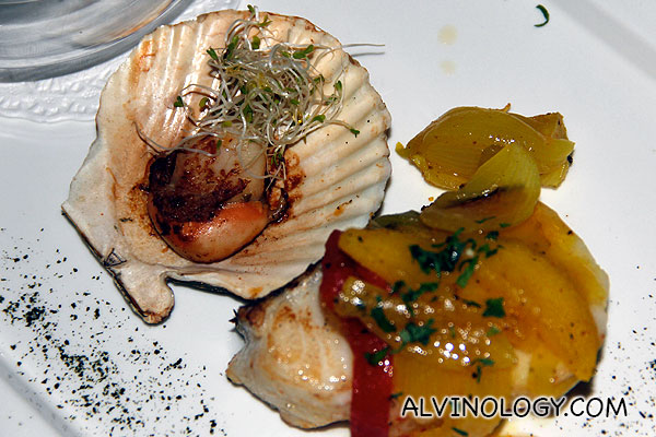 Close-up of the cod fillet and scallop