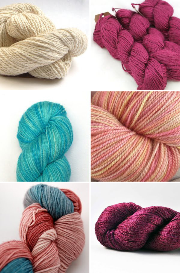 delicious yarns in ivory, claret, turquoise and peach | Emma Lamb
