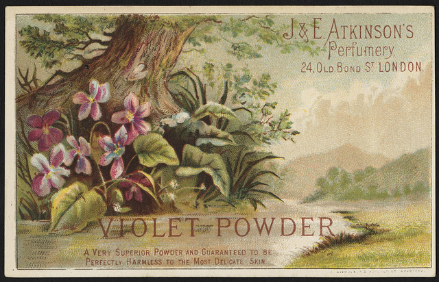 Violet Powder, a very superior powder and guaranteed to be perfectly harmless to most delicate skin. [front]