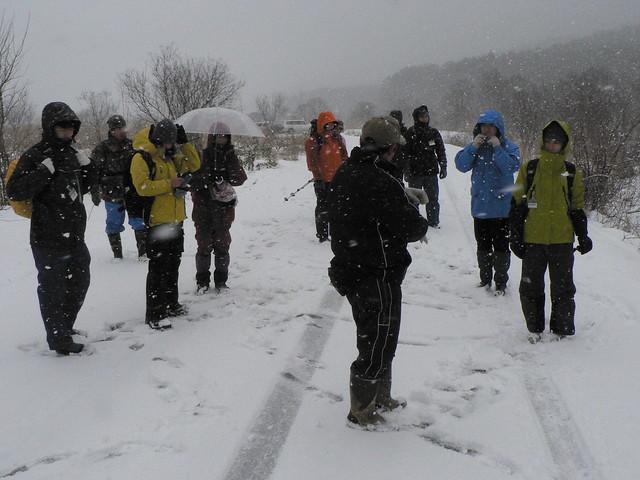 降りしきる雪の中,歩き始める前に,案内人の上野先生よりお話を聞く.