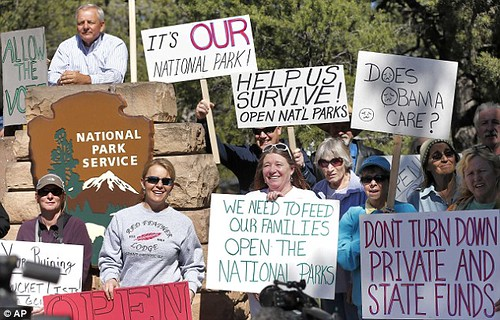 Local residents complain about the closing of the Grand Canyon National Park