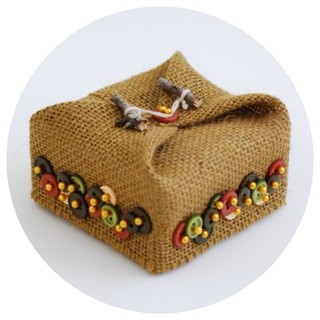Burlap and Button Ring Pillow