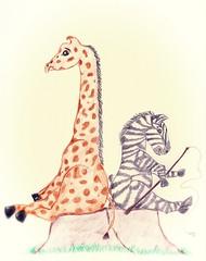 Zhiraf i zebra