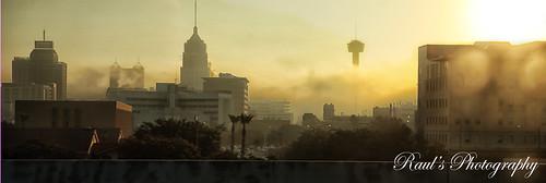 fog sanantonio sunrise texas towerofamericas towerlifebuilding druryplazahotel