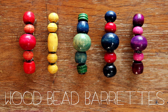wood bead barrettes