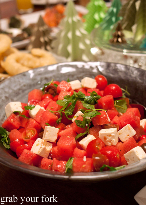 Watermelon, feta, tomato and mint salad