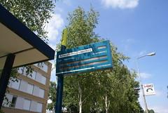 Bord bij bushalte Ziekenhuis