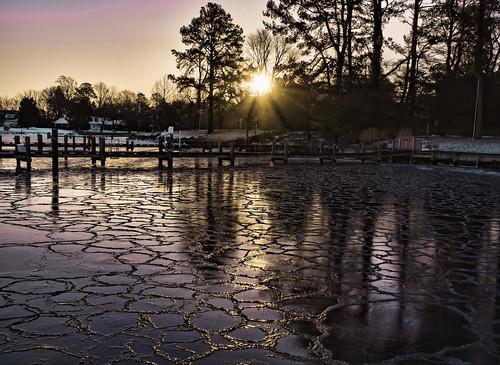 winter ice nature marina sunrise pier frozen maryland inlet cracks sunrays chesapeakebay sunflare waterscape talbotcounty icecoating stmichaelsmaryland easternshoremaryland storybookwinner flickrstruereflection1 flickrstruereflection2 magicmomentsinyourlifelevel3 zunikoff