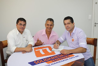 Luiz Cabeleireiro, de Itaquaquecetuba, em visita à sede estadual do Solidariedade