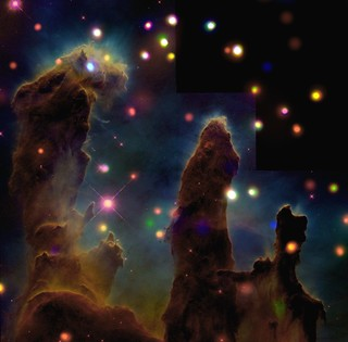 The Eagle Nebula: Pillars of Creation (NASA, Chandra repost, 07/30/01)