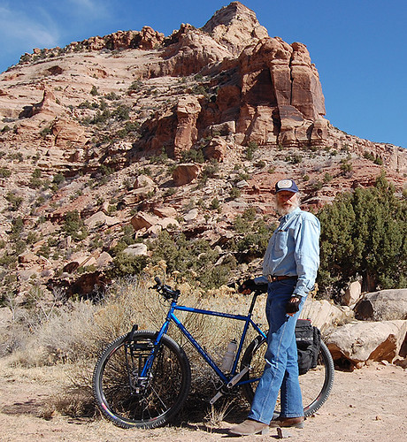 <p>John M. uses his Rock Tour to explore central Utah, shown here near the San Raphael Swell.  It's a 22 inch 29er in Gunnar Blue.</p>