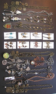 Steampunk necklaces and earrings 1