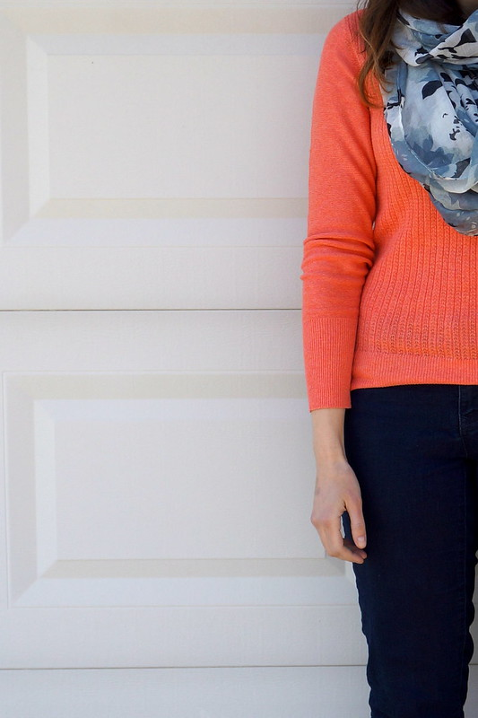 Target coral sweater and gray floral scarf