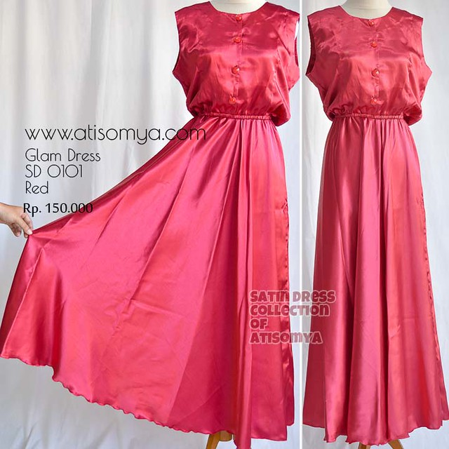 baju dress hijabers glamour dari kain satin