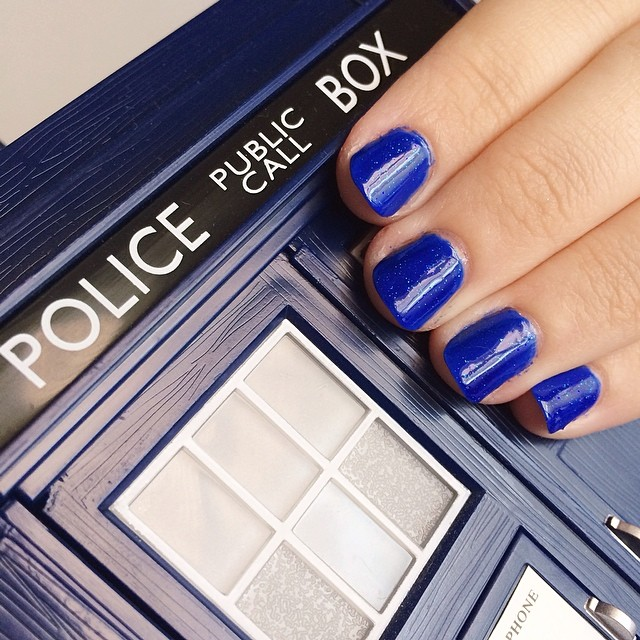 Such a #gorgeous combo. #nailsinc #BakersStreet layered with #royallacquer Poe. It shines from within! Love #bluenailpolish!! Very #TARDIS-y :) #doctorwho inspired. #autismawareness