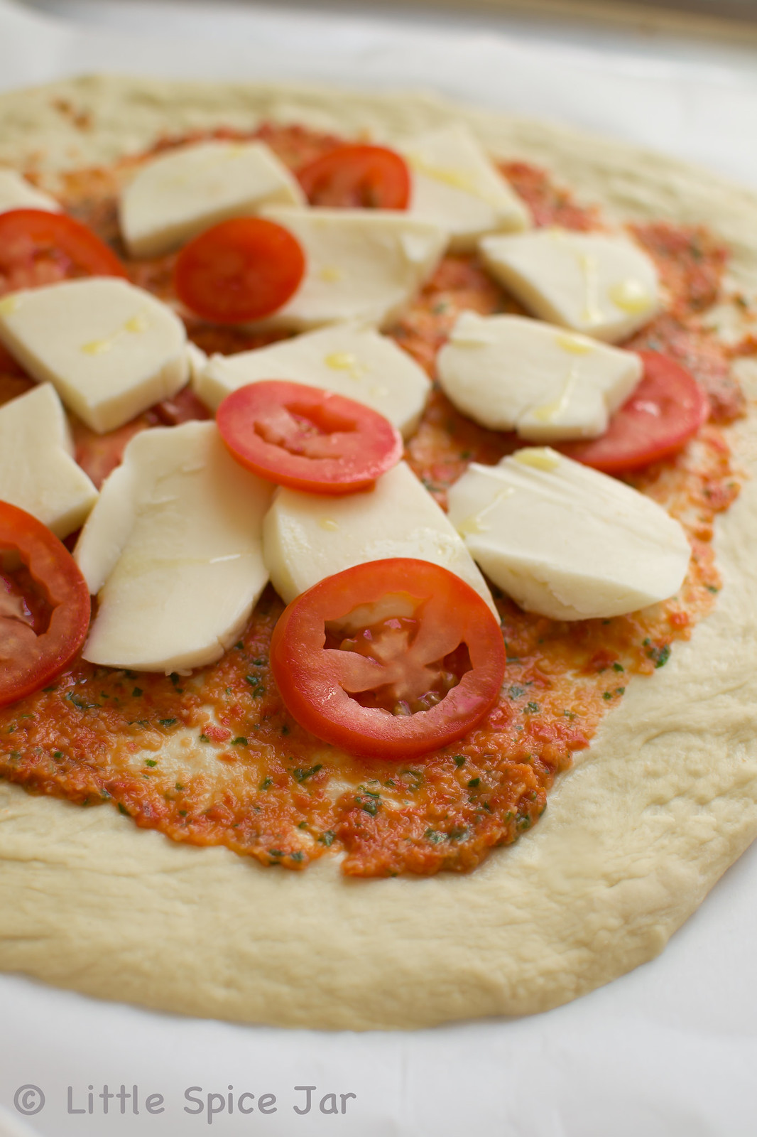 Easy Margherita Pizza Ingredients on Dough