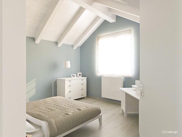 Camere da letto con travi bianche ispirazione design casa for Casa 5 camere da letto con cantina
