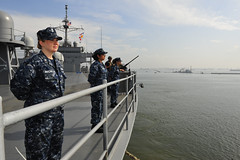 Sailors man the rails as USS Blue Ridge (LCC 19) arrives in Jakarta May 25. (U.S Navy/MC3 Jared Harral)