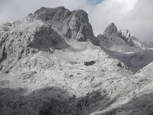 Grey weathered stone makes up the peaks in the Picos de Europa, Spain