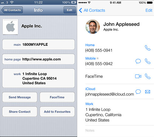 Contacts on iOS 6 and iOS 7