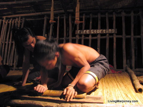 making a fire from bamboo tree