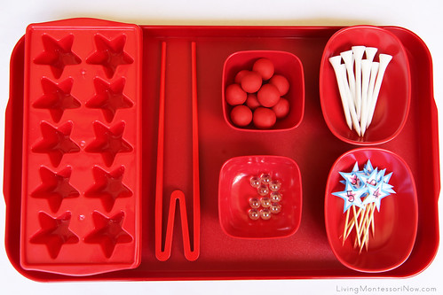 Patriotic Golf Tee Practical Life and Math Tray