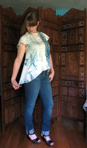 Top made from hand dyed Shibori Silk
