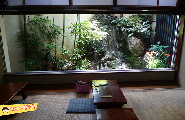 SASANOYUKI - tofu restaurant - tatami with view of koi pond