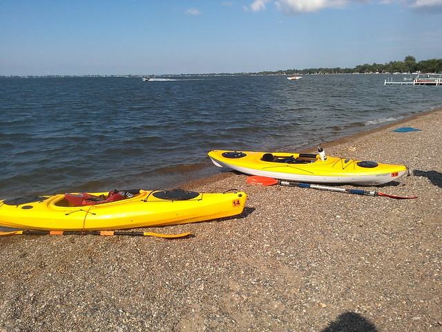 Our kayaks on the beach by the Prop