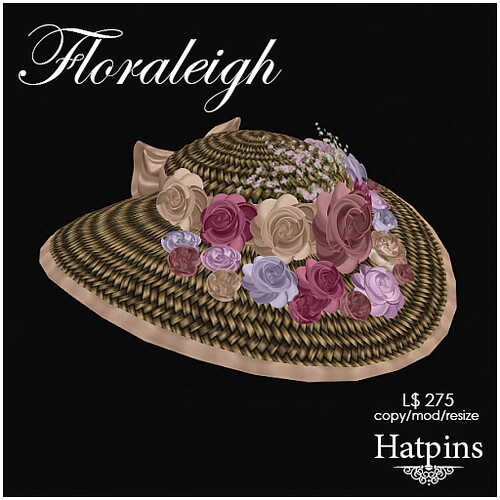 Hatpins - Floraleigh Straw Hat - Vintage Bouquet - Cream