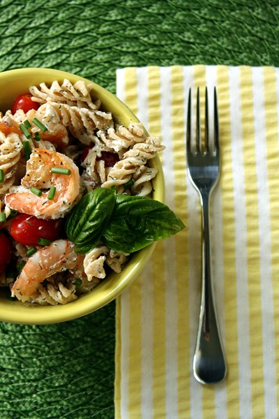 9467427115 2420b5af54 z A Weekend Quickie: Shrimp Pasta Salad with Herbs, Tomatoes, and Goat Cheese