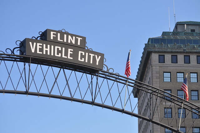 Vehicle city arches in downtown flint during back to the bricks 2013