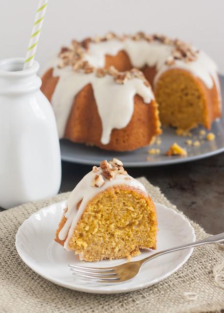 Pumpkin-Ginger Pound Cake Bundt with Maple Cream Cheese Glaze