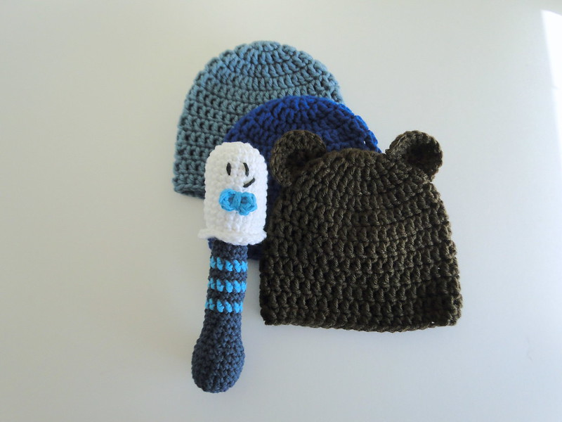 baby hats & rattle