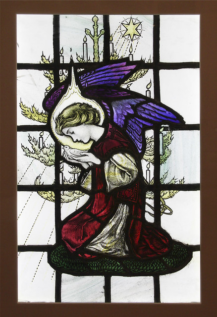 Angel with Dove, Adapted from a design by Louise B Davis, painted and made by Thomas Cowell, 1920s.