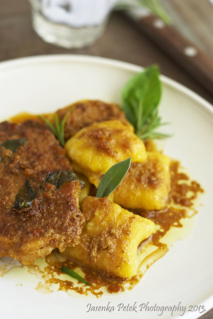 Porc cottelete and pumpkin gnocchi
