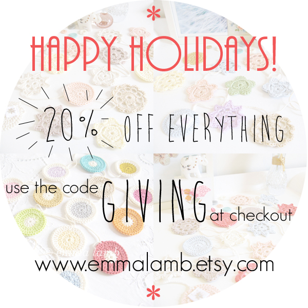 Happy Holidays! 20% off in my Etsy shop when you enter the coupon code GIVING at checkout | Emma Lamb