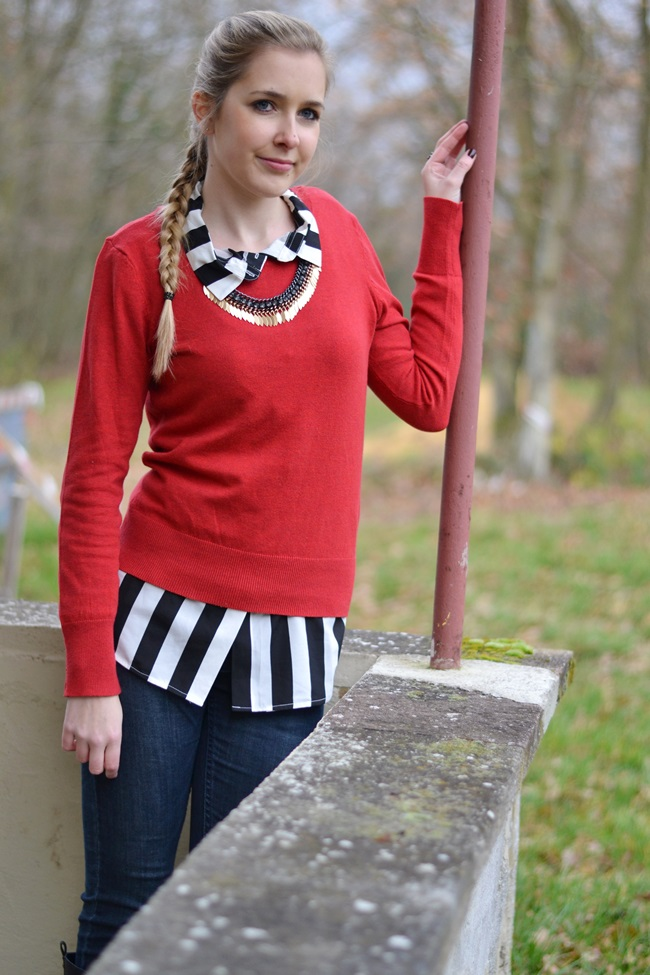 Outfit Roter Pulli + Bluse (2)
