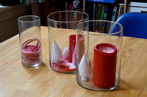 Red Candles in Hurricane Vases