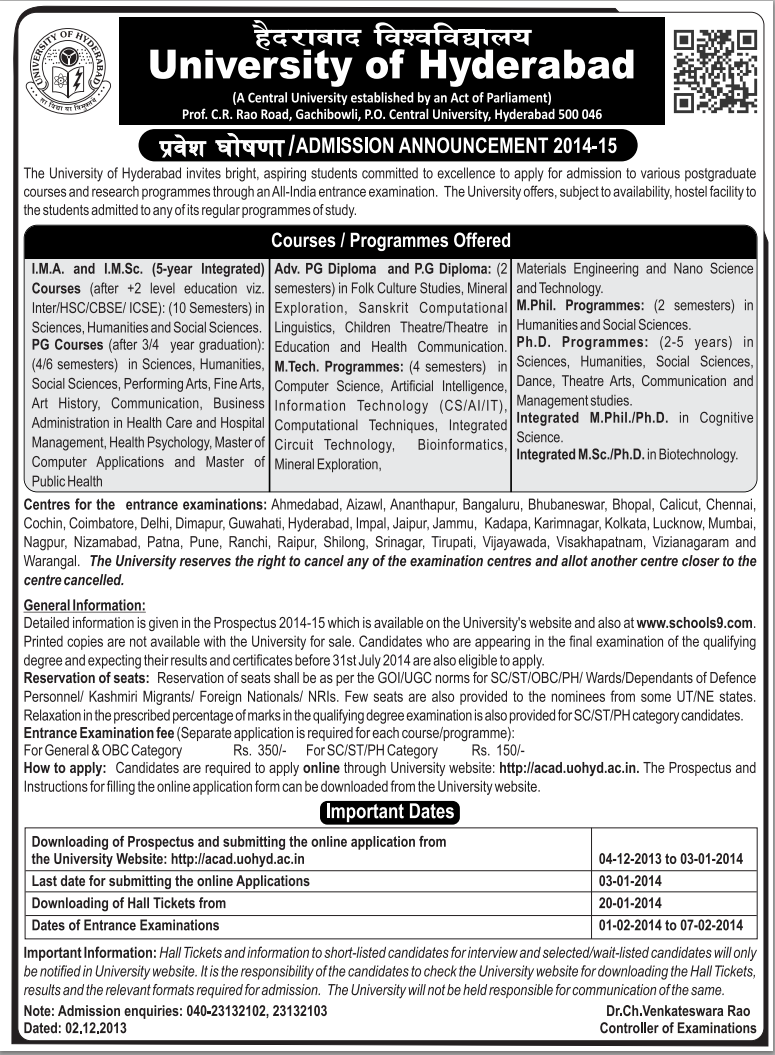University of Hyderabad Admission 2014 Notification in university of hyderabad  Category