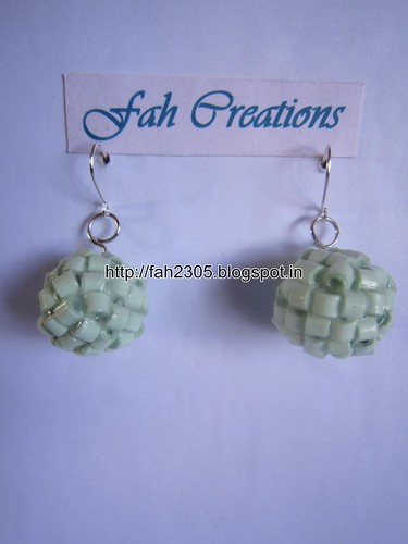 Handmade Jewelry - Paper Quilling Globle Earrings (Pista - H) (1) by fah2305