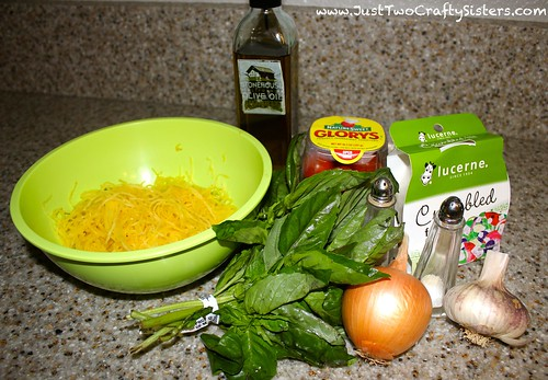 Spaghetti squash salad with feta, basil, tomatoes, onion and garlic recipe