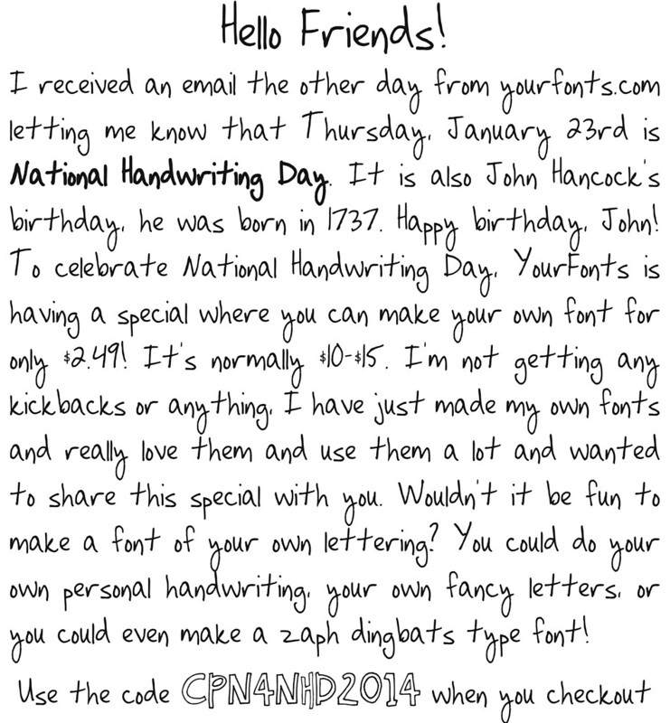 1 Response To National Handwriting Day And A Special Font Deal