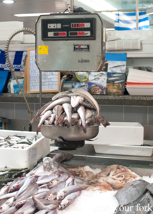 Fish on scales at Plaza de Lugo Fish Market in A Coruna, Galicia, Spain