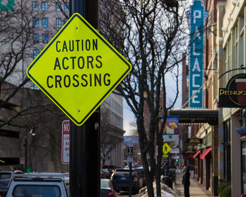 Caution Actors Crossing
