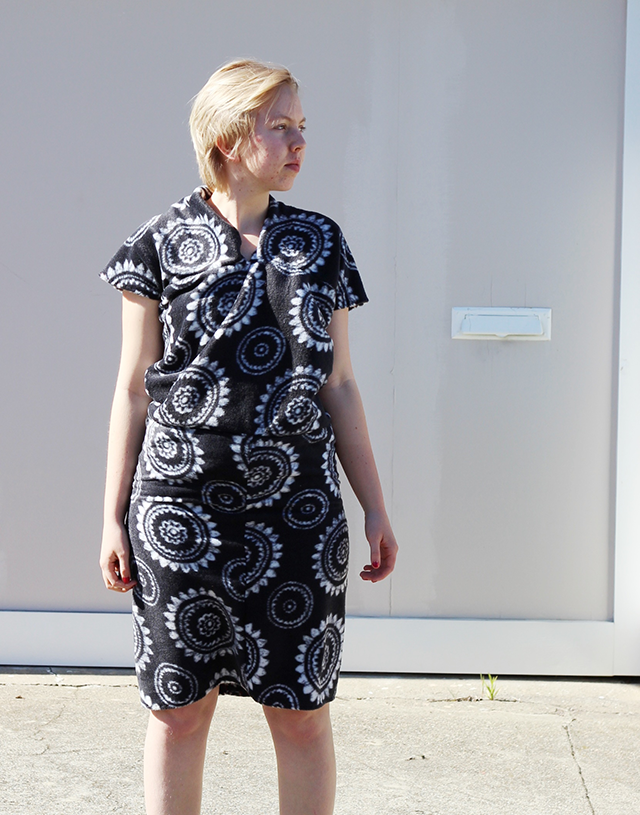 handmade fleece dress with black-and-white pattern