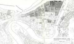 Kart over bybranner fram til 1976 / Trondheims bybilde (1976)